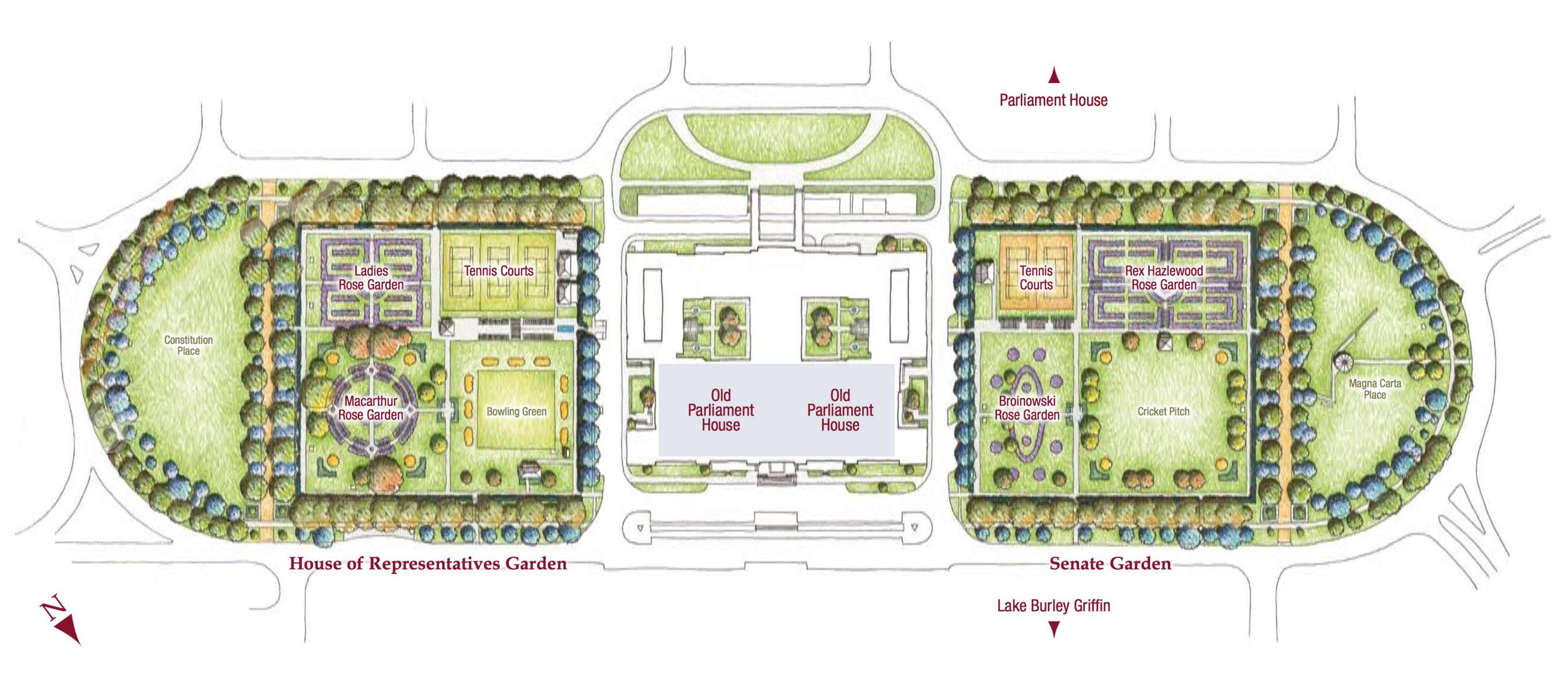 Garden design friends of old parliament house rose gardens for Garden design map